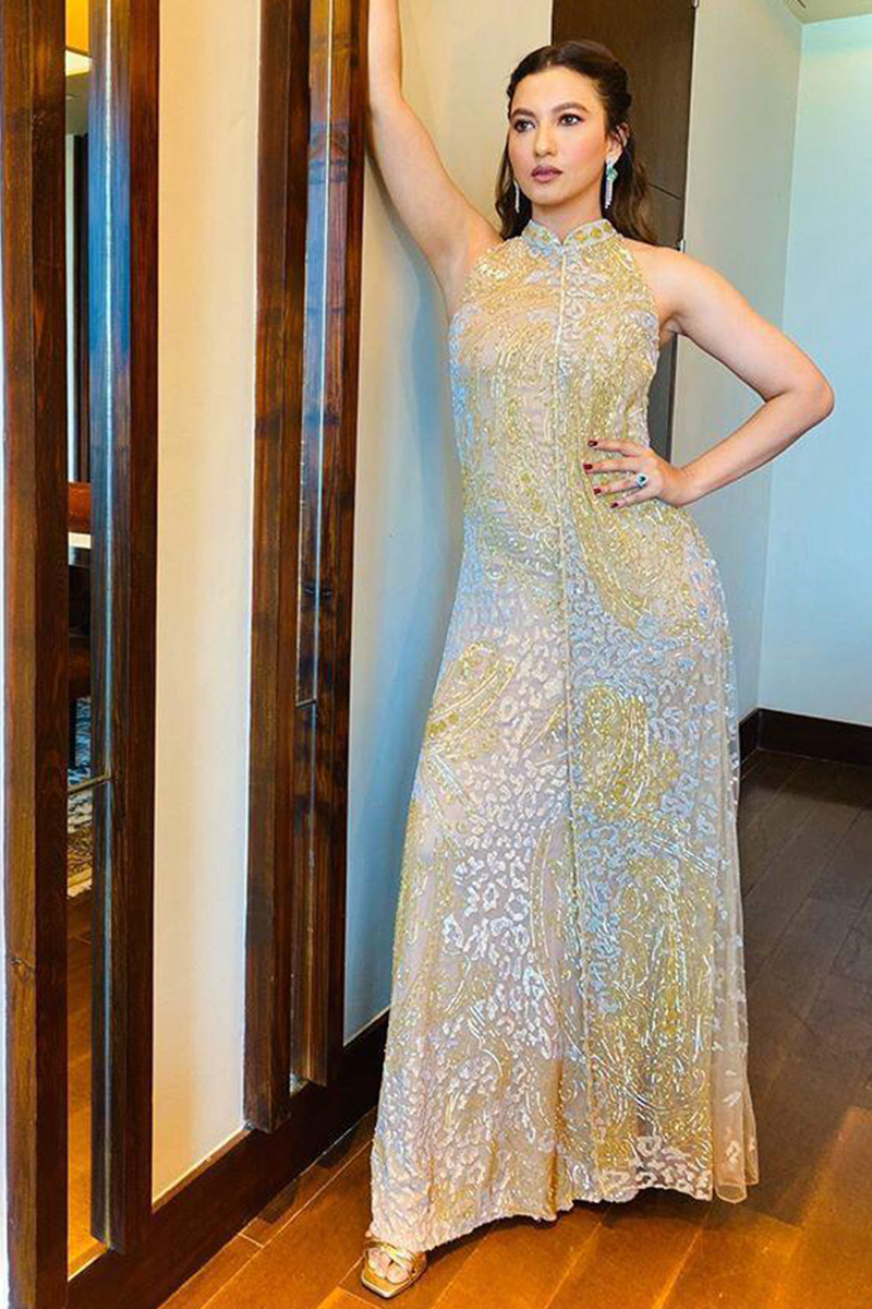 Gauhar Khan In 2 Layer Gold Gown