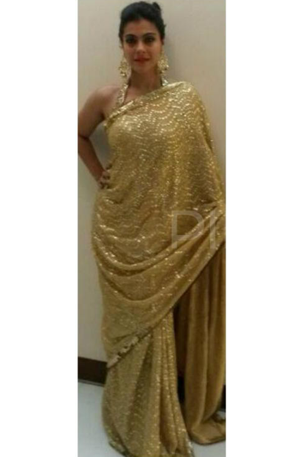 Kajol In Gold Heartbeat Sari Set