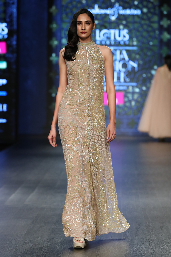 Gold Net Fully Hand Embroidered 2 Layer Gown