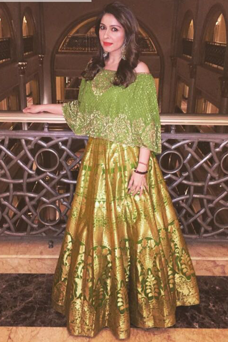 Bhavna Pandey In Lime Off Shoulder Cape & Banarsi Skirt