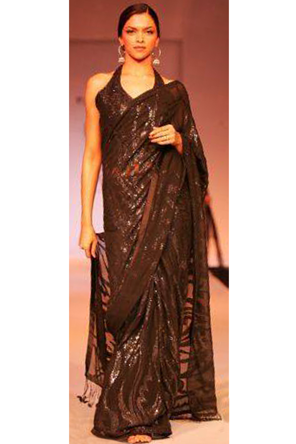 Deepika Padukone In Black Flames Sari Set