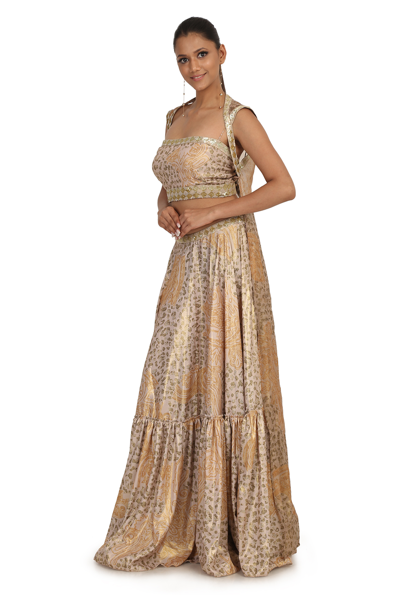 GOLD A.P BRUST JAAL PRINT CREPE FOIL  SKIRT WIITH BLOUSE AP-5  AND ORGANZA FOIL LONG BACK AT BACK