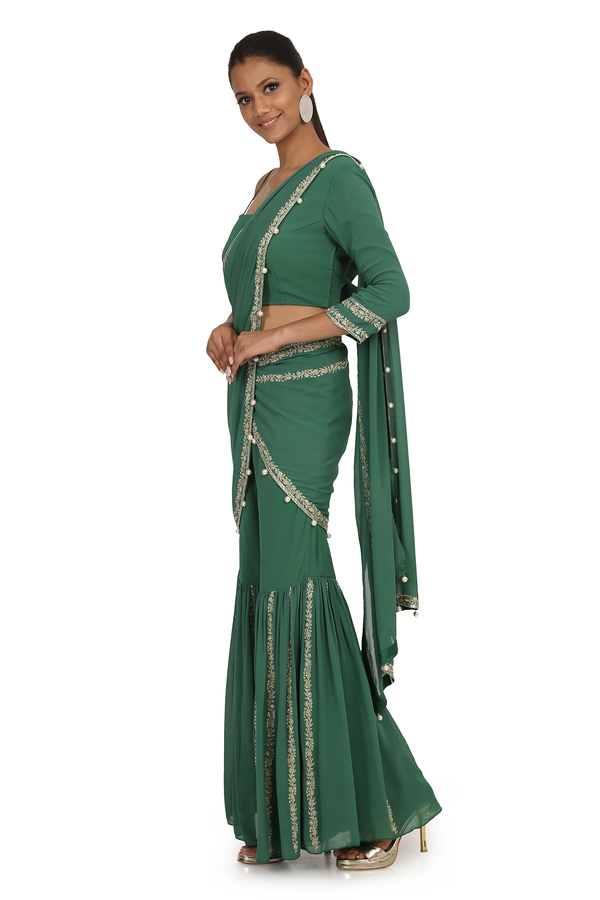 ASPARAGUS G-60 SHARARA WITH DRAPE WITH BLOUSE SET