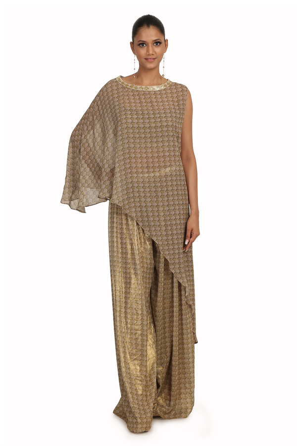 GOLD DIBBI PRINT G-60 CAPE WITH FOIL G-60 BLOUSE AP-8 AND FOIL G-60 PRINT ROUGHED SHARARA