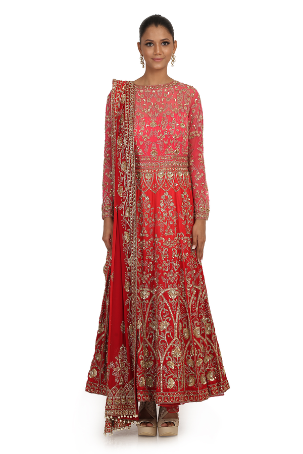 SH RED 12 KALI FULLY HAND EMBROIDERED ANARKALI SET