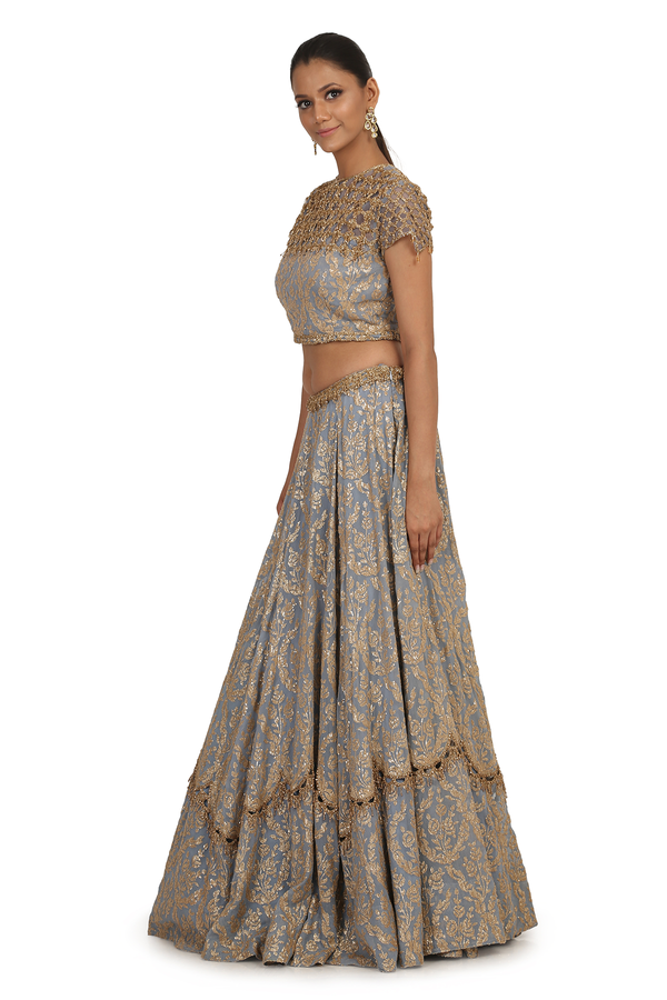 STEEL BLUE FULLY G-60 SEQUIN 6 KALI LEHENGA SET