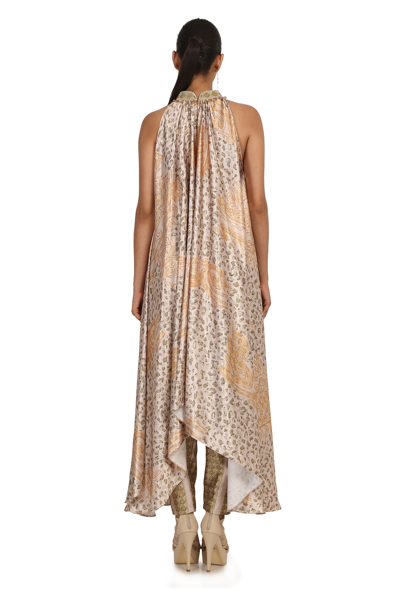 GOLD A.P JAAL PRINT  SATIN LONG KURTA WITH DIBBI JAAL TROUSER