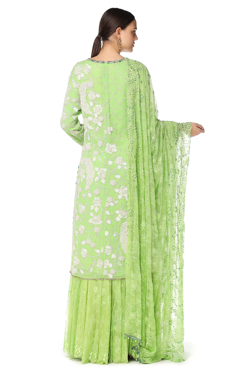 GREEN KURTA WITH LACE SHARARA SET
