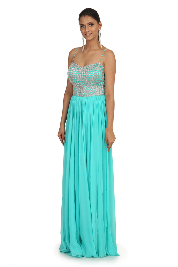 AQUA CHIFFON ROUGHED GOWN WITH JEWEL HAND EMBROIDERED BUSTIER