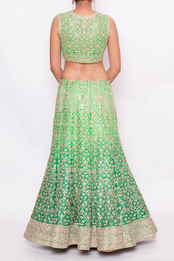GREEN KASAB FULL EMBROIDERED HEAVY LEHENGA SET