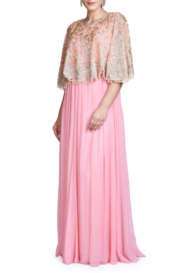 PINK CHIFFON WITH SHEETING GOWN WITH FULLY EMBROIDERED CAPE
