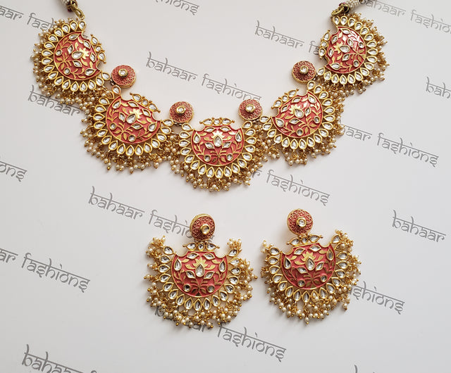 Rose Gold Kundan Necklace Set With Meenakari