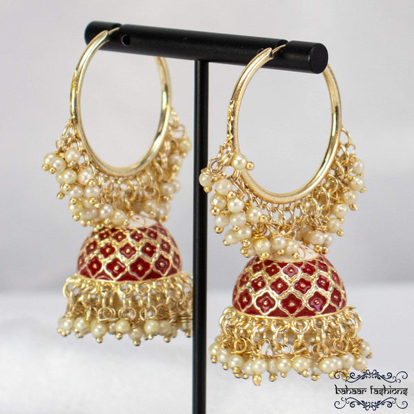 Bahaar Fashions Bright Red Rocking Bali Jhumkis