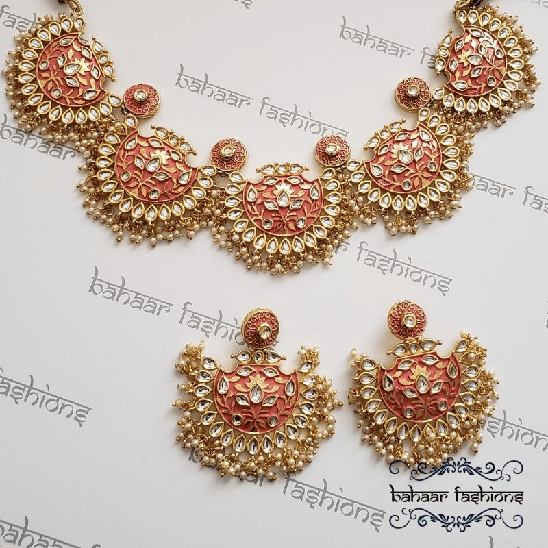 Bahaar Fashions Coral Handcrafted Kundan Necklace Set