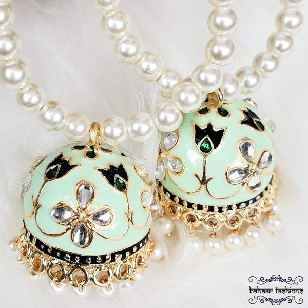 Bahaar Fashions Earrings Fiza Jhumkis - Mint Green