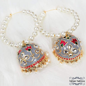 Bahaar Fashions Earrings Fiza Jhumkis - Smokey Grey