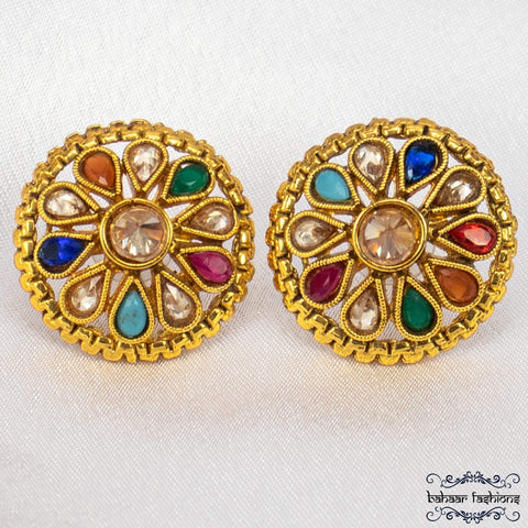 Bahaar Fashions Multicoloured Meena Polki Studs