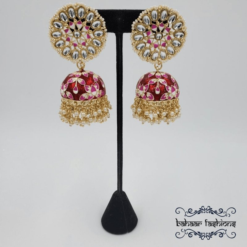 Bahaar Fashions Red Painted Kundan Jhumkis