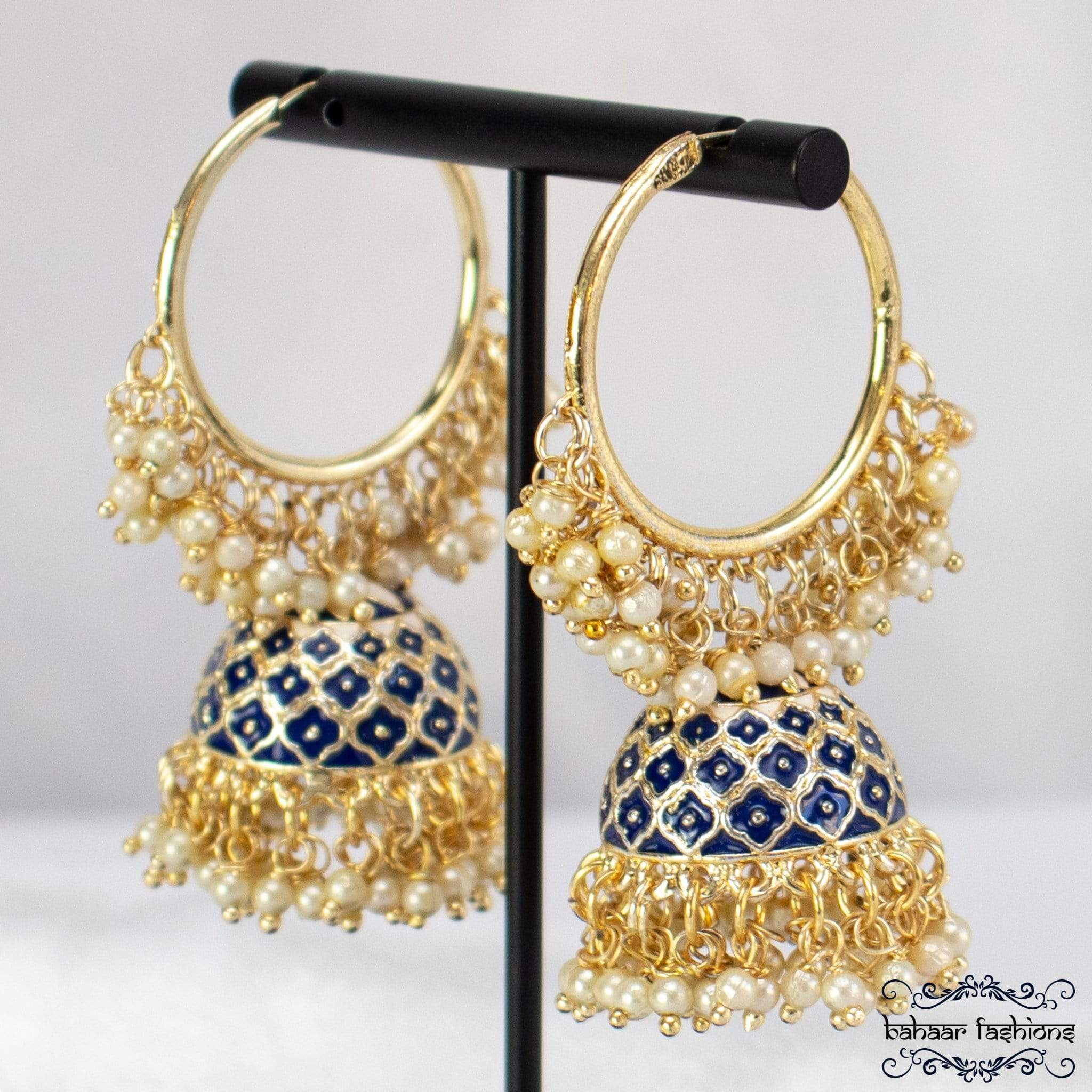 Bahaar Fashions Royal Blue Rocking Bali Jhumkis