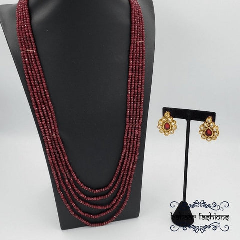 Bahaar Fashions Ruby Red Beaded Necklace Set