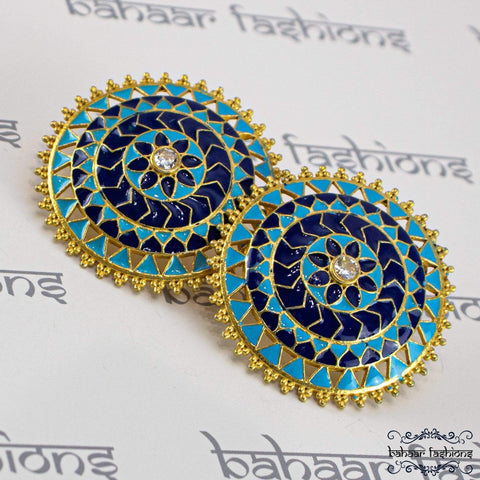 Bahaar Fashions Sky Blue/Navy Blue Riyaz Stud Earrings