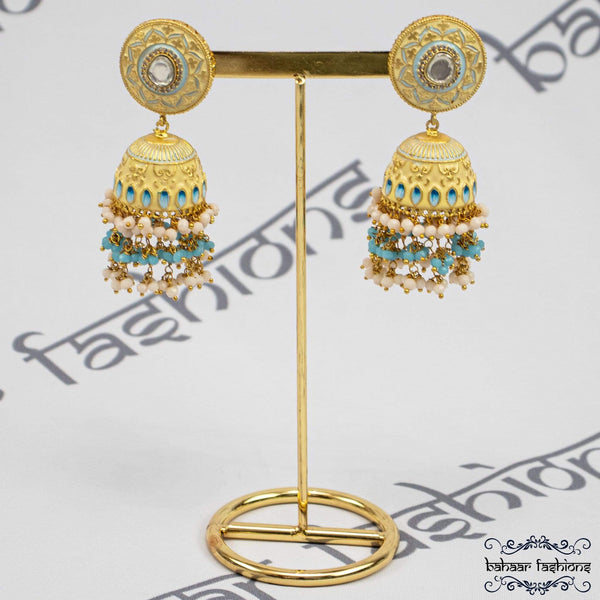 Bahaar Fashions SOFT YELLOW/BABY BLUE Rangeen Jhumkis