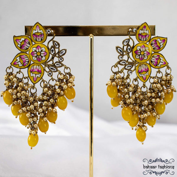 Bahaar Fashions Yellow Dangling Earrings