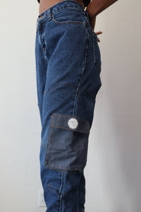 Jogger Style Patched Denim W/ Pockets