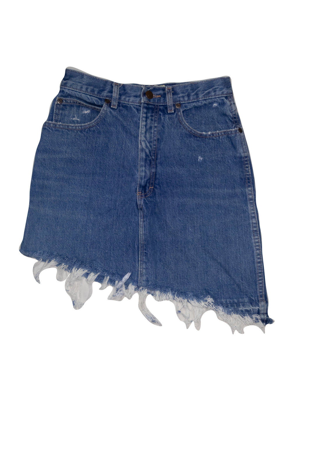 Asymmetrical Distressed Denim Skirt