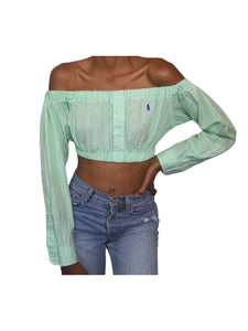 Reworked Lime green RL Bardot Top