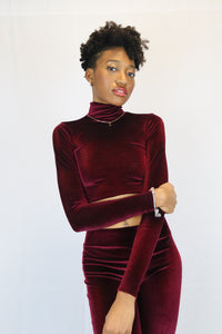 """Merlot"" Velvet Long Sleeve Turtle Neck"