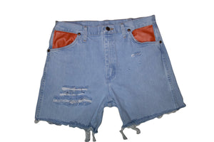 Distressed Denim Shorts W/ Leather detail