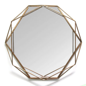Gold Octagon-Shaped Wall Mirror