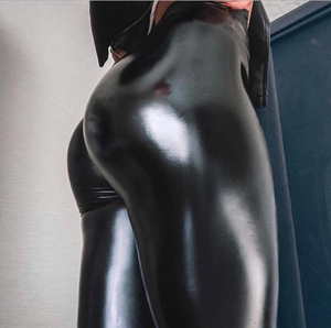 Reflective leather leggings