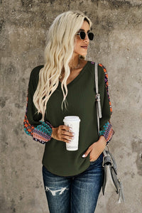 Green Thermal Patch Sleeved Top