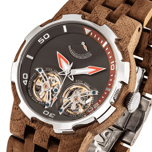 Dual Wheel Geared Walnut Watch