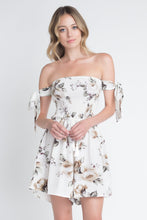 Load image into Gallery viewer, Women's Off Shoulder Smocked Floral Tie Romper