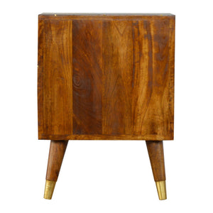 Gold Geometric Chestnut Bedside