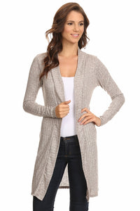Women's Ribbed Open Front Long Sleeve Cardigan Small to 3XL Made in