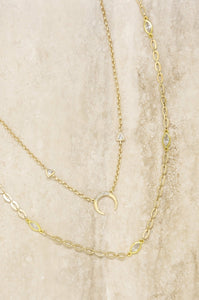 Crescent Horn 18k Gold Plated Layered Necklace Set