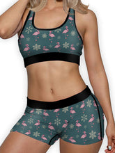 Load image into Gallery viewer, Christmas Flamingo Sports Bra