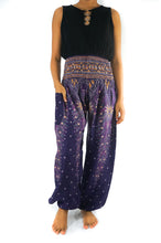 Load image into Gallery viewer, Purple PEACOCK Harem Pants Women Boho Pants Hippie Pants