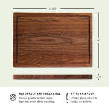 "Load image into Gallery viewer, Walnut Wood Cutting Board with Juice Groove (9""x13"")"