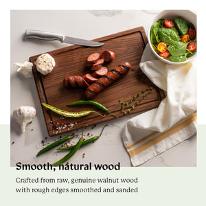 "Walnut Wood Cutting Board with Juice Groove (9""x13"")"