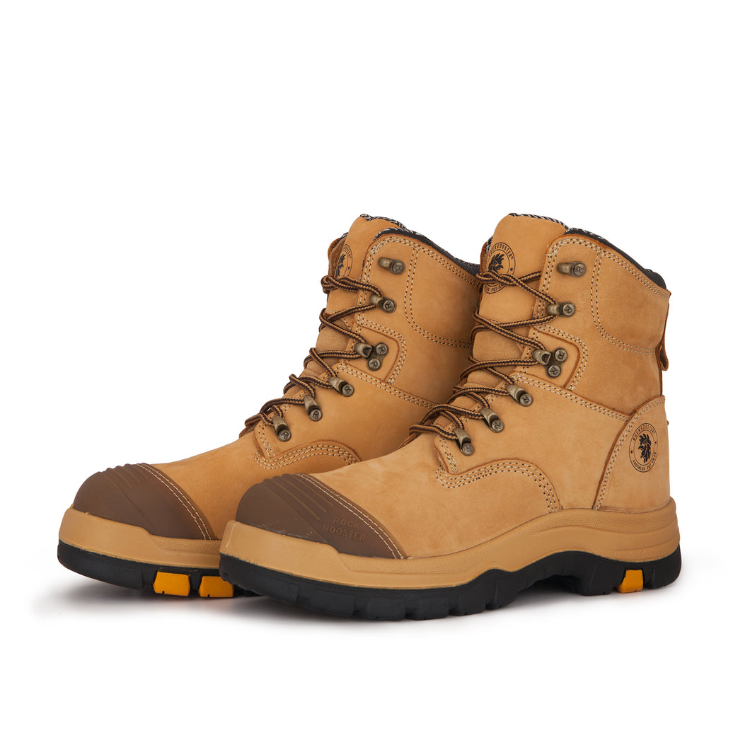 Tan 7 Inch Steel Toe Leather Asphalt Work Boots