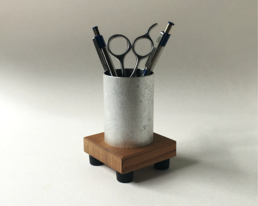 Pencil Cup in Reclaimed Wood and Recycled Metal