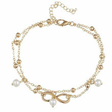 Load image into Gallery viewer, Infinity Pendent Pearl Anklet