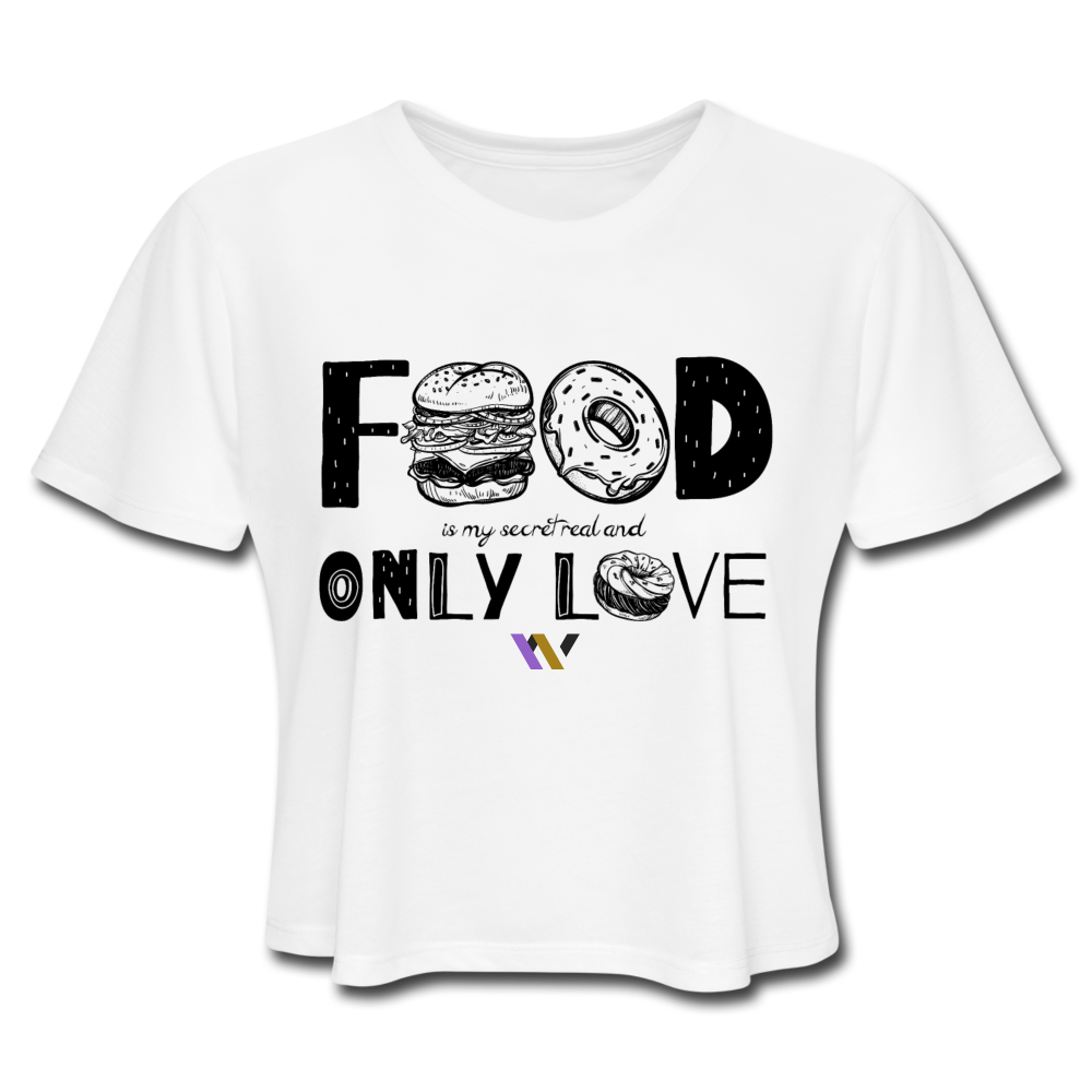 Food is my secret real and only love T-Shirt - white