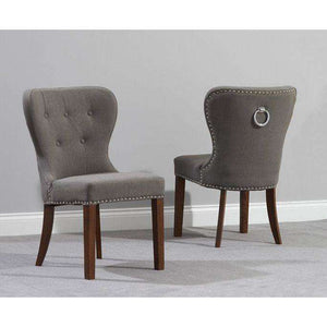 Furnish Our Home:Mark Harris Kalim Grey  Solid Dark Oak And Fabric Chairs (Pair)