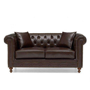 Furnish Our Home:Mark Harris Montrose Brown Leather 2 Seater Sofa With Dark Ash Wood Legs - 2 Cushions Included